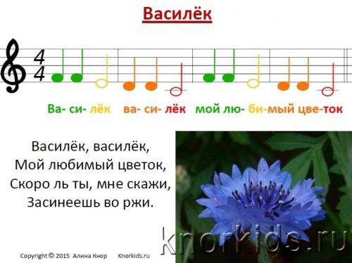 NotiVasilek 500x374 Ноты Василек